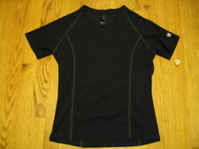 APPLE LADIES T-SHIRT Athletic Wicking poly Black Short Sleeve V-Neck Small SM S