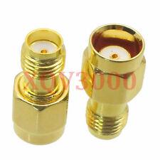 10pcs Adapter converter Push-on RP*SMA male jack to SMA female jack pin