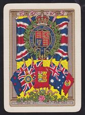 1 Single ANTIQUE Playing/Swap Card OLD WIDE ROYAL CREST CROWN EMPIRE FLAGS Gold