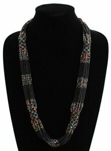 """Glass Beaded Clusters and Strands Magnetic Clasp  30"""" Long Onyx Jet Multicolored"""