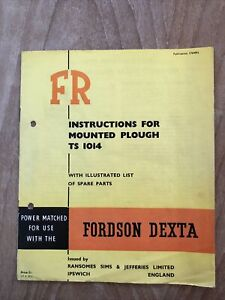Ransomes FR TS 1014 Mounted Plough Instruction Book Ilustrated Spare Parts List