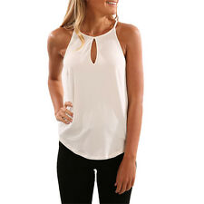 Womens Summer Casual Sleeveless Vest Tops Blouse Loose Shirt Plus Size Plain