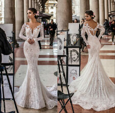 Lace Appliques White/Ivory Mermaid Wedding Dress Long Sleeve V Neck Bridal Gown