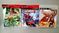 Uncharted 1 2 3 Game Lot - PS3 Sony Playstation 3 Drake's Thieves Fortune