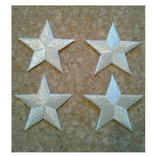 ( Set Of - 4 ) Stars - Star - Metallic Silver - Embroidered Iron On Patch