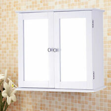 Large Wooden Double Mirror Door Cabinet Shelf White Wall Mountable Bathroom Unit