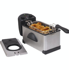 New Deep Fryer Frying Cooking 3.5 Qt Small Kitchen Appliance Lid Splatter Proof