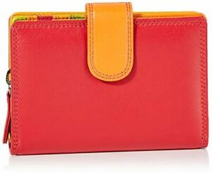 Soft Leather Ladies Purse Prime Hide Design RFID Protection in Red & Black