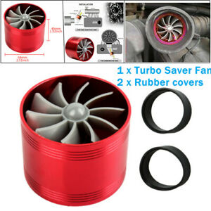 Car Air Intake Turbonator Single Fan Turbine Gas Fuel Saver Turbo Supercharger