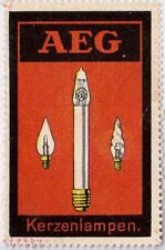 Orig Modernist Poster stamp AEG Candle Lamp Peter BEHRENS 1910 Industrial Design