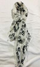 New Authentic ALEXANDER MCQUEEN SILK White Skull Scarf  Large Black Skulls