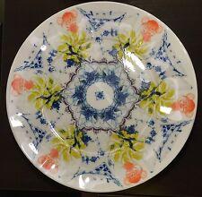 "Kaleidoscope 11"" Diameter Dinner Plate Portugal Fine Porcelain Blue Yellow"