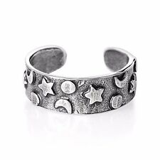 USA Seller Star Moon Sun Toe Ring Sterling Silver 925 Best Price Jewelry Gift