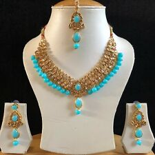 TURQUOISE GOLD INDIAN KUNDAN JEWELLERY NECKLACE EARRINGS CRYSTAL SET NEW 036