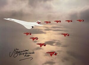 CONCORDE HAND SIGNED 16X12 PHOTOGRAPH CONCORDE IN FORMATION WITH THE RED ARROWS
