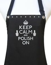 "Nail Tech Apron ""Keep Calm Polish On"" Manicurist salon waterproof black silver"