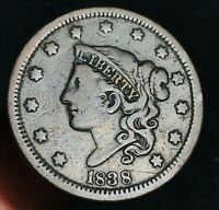 1838 US Large Cent Coronet Head 1C High Grade Good Date US Copper Coin CC4466