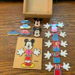 Vintage Walt Disney Mickey Mouse Wooden Puzzle in box interchangeable body head