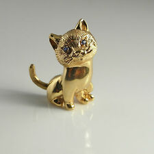 Pretty Cat Kitten 1950s 1960s Mid Century 14K Gold Sapphire Brooch Pin 585 Kitty