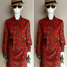 Vintage 1960's Red/Brown Paisley Day Dress by Carolette. Size 14.