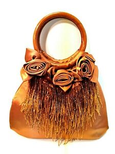 "Evening Bag Handbag Bronze Satin Beaded Strands Purse Wooden Handles 10"" Tall"