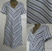 NEW Next Shift Tunic Dress Linen Blend Summer Chevron Striped Blue Ivory 8-18
