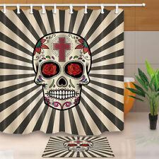 Sugar skull Shower Curtain Bathroom Waterproof Fabric & 12Hooks 71*71inch