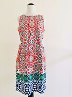 Maggie London Womens Size 4 Red Batik Dress Sleeveless Sheath Crewneck Cotton