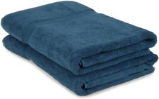 2-Pc Sapphire Blue Superior 600 Gsm Egyptian Cotton Bath Sheet Towel Set 1-Ply
