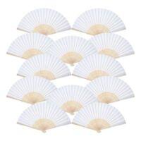 12 Pack Hand Held Fans White Paper  Folding Fans Handheld Folded Fan f F7P7