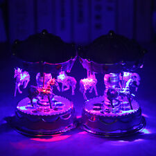 Vintage Horse Carousel Music Box Toy Light Clockwork Musical Birthday Gifts