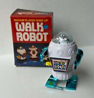 """ROBOT """"WALK ROBOT"""" GIOCATTOLO CARICA A MOLLA ANNI 80 BLU"""