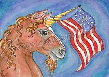 patriotic Unicorn horse USA Flag original ACEO Kim Loberg Fantasy mini art EBSQ