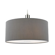 Dar Lighting 40cm Ronda Faux Silk Drum Pendant Shade, SLATE GREY