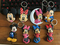 8pcs mickey minnie color silica gel key chain key chains action key ring anime