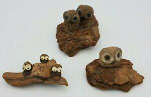 Vintage Owls On Bark And Driftwood  A Group Of Three