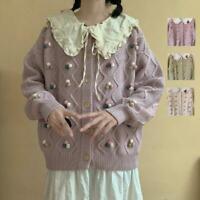 Womens Girls Cute Retro Japanese Preppy Style Knitted Sweater Cardigan Coat SKGB