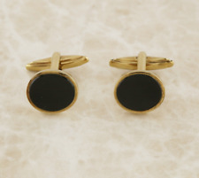 Vintage Black Onyx Oval Cufflinks 9ct Yellow Gold