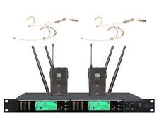 Church Wireless Microphone System UHF Cordless Microphone 4 Headset Mics pro