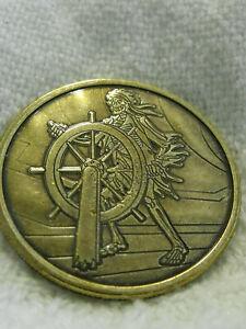 "Disney 1.5"" Metal Medallion Coin Pirates of the Caribbean Helmsman Skeleton"