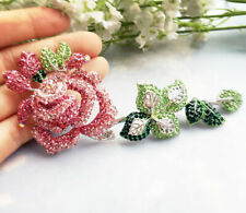 "5.3"" New Pink Pretty Rose Flower Woman Brooch Pin Rhinestone Crystal Gifts"