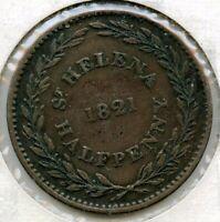 1821 St. Helena Half Penny Coin - BK349