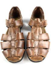 Earth Shoe Brown Leather Women's Sandals Fisherman Harlen Size 7.5 Wide