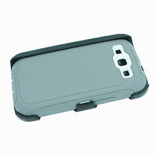 For Samsung Galaxy S3 Defender Case (Belt Clip Fits Otterbox) Gray White