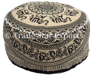 Mandala Elephant Ottoman Pouf Cover Large Ethnic Boho Footstool Pouffe Cover
