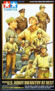Tamiya 32552 1/48 Model Kit WWII US Army Infantry at Rest Figure w/Light Vehicle