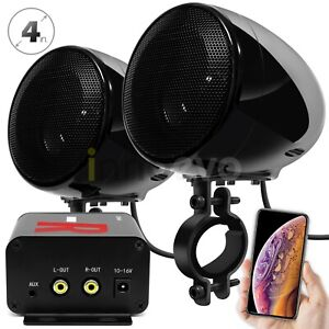 Bluetooth Amplifier Motorcycle ATV Speakers Waterproof Stereo Audio Radio System