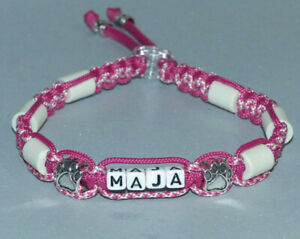 EM Keramik Halsband mit Name nat. Zeckenschutz Hundehalsband Paracord mit Beads