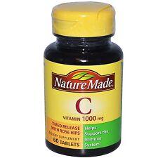 La vitamina C, 1000 MG, 60 Compresse-rilascio temporizzato con rosa di macchia-Nature Made