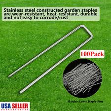 100Pack Sod Staples Garden Pin Netting Stakes Ground Spikes Landscape Cover Peg